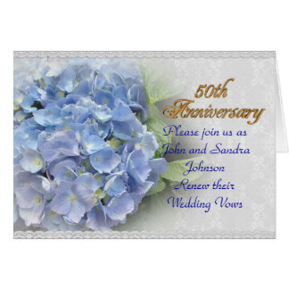 50th anniversary vow renewal hydrangeas blue card