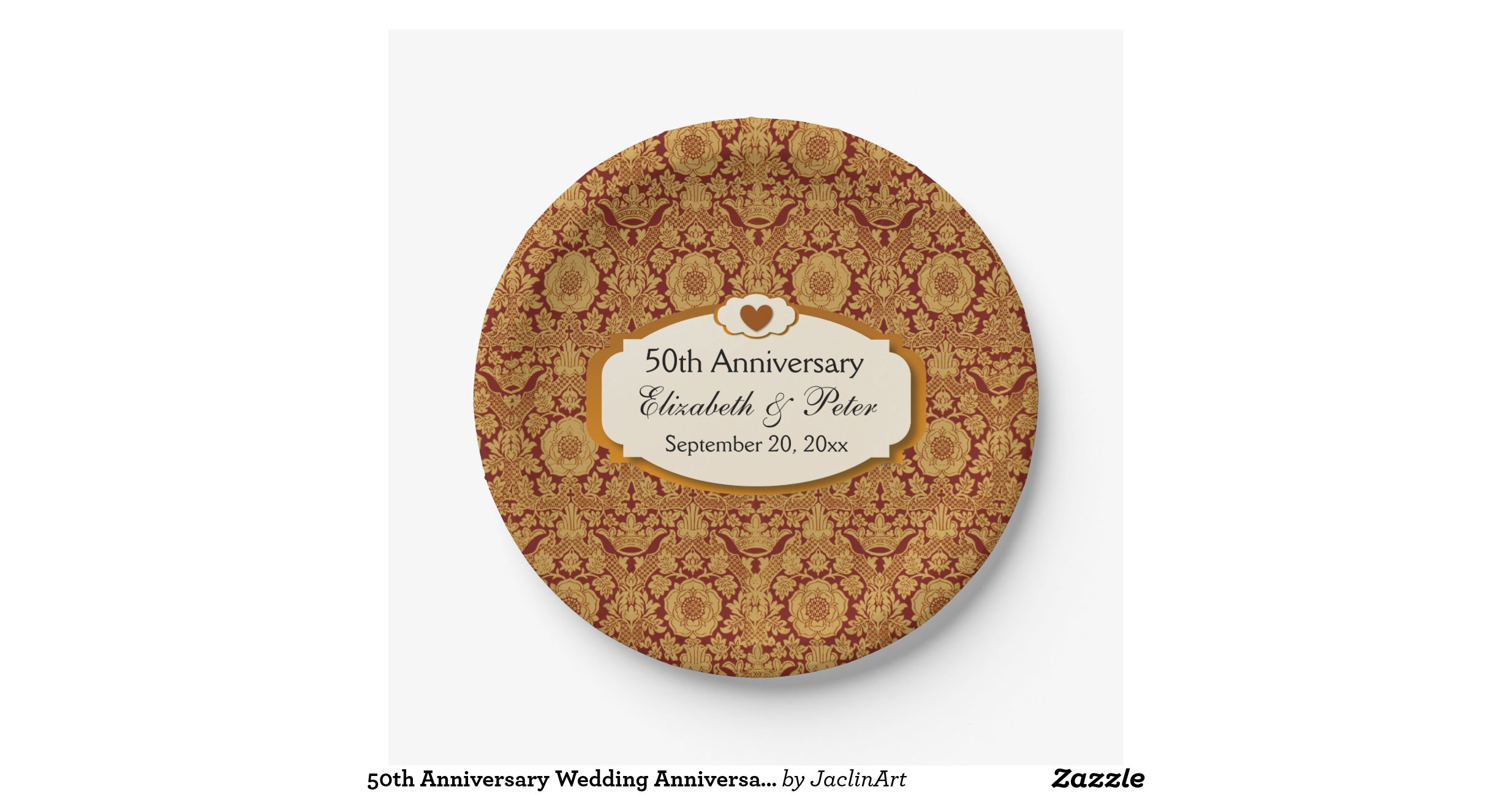 50th Anniversary Wedding Anniversary Gold Damask 7 Inch Paper Plate Zazzle