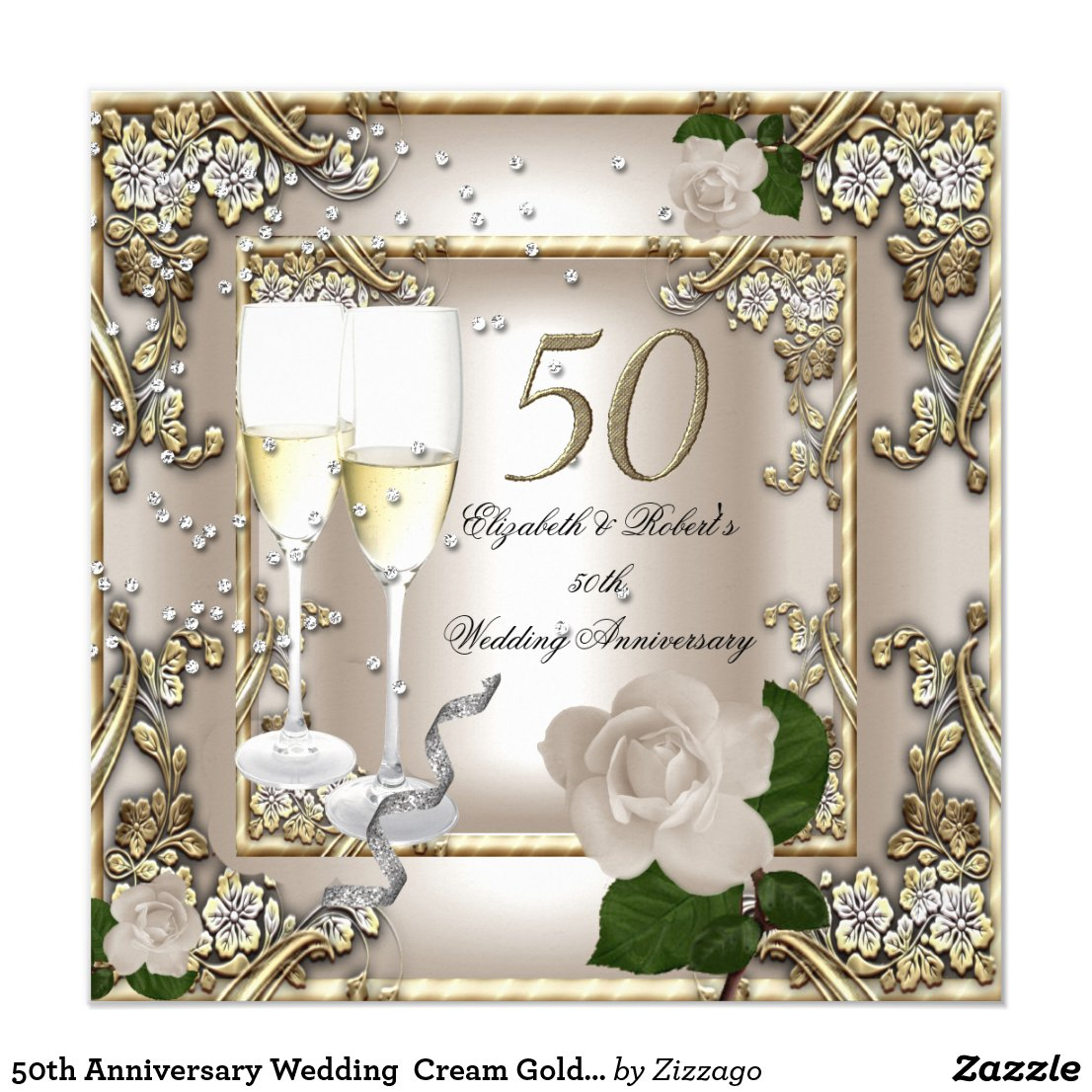 50th Anniversary Wedding Cream Gold Rose Silver