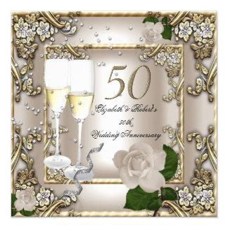 50th Anniversary Wedding  Cream Gold Rose Silver 13 Cm X 13 Cm Square Invitation Card