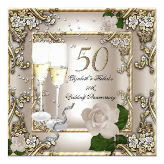 50th Anniversary Wedding  Cream Gold Rose Silver Card