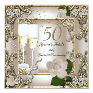50th Anniversary Wedding  Cream Gold Rose Silver Invite