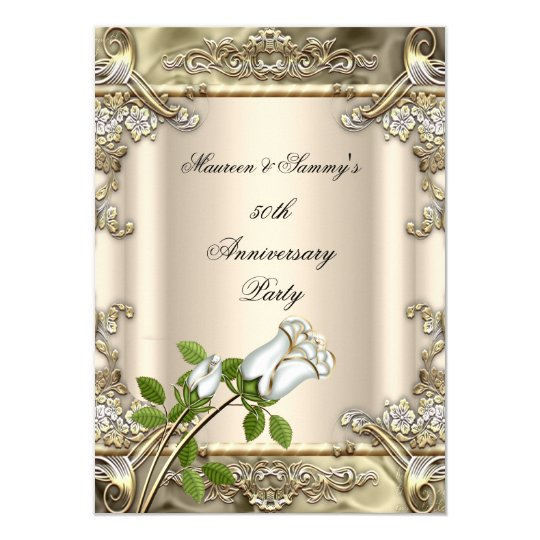 50th Anniversary Wedding Rose Gold Beige Card