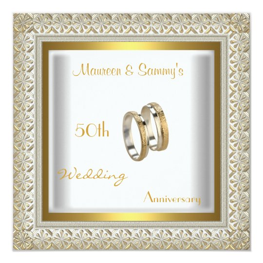 50th Anniversary Wedding White Gold Elegant Card