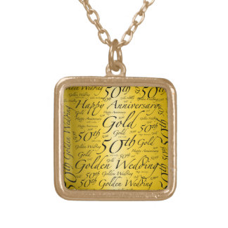 50th Anniversary Word Art Graphic Gold Plated Necklace