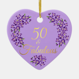 50th Birthday 50 & Fabulous Violet Flowers Christmas Ornament