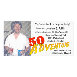 50th Birthday Adventure Party Photo Invitation Picture Card