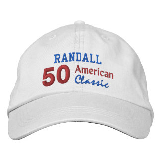 50th Birthday AMERICAN CLASSIC Red White Blue V06 Embroidered Hat