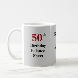 50th Birthday Balance Sheet - triple-sided Coffee Mug