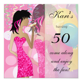 50th Birthday Bash Girl Party   Colorful Pinks 13 Cm X 13 Cm Square Invitation Card