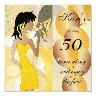 50th Birthday Bash Girl Party   Golden Yellow 13 Cm X 13 Cm Square Invitation Card