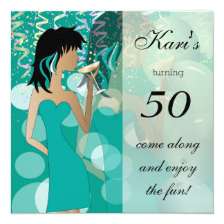 50th Birthday Bash Girl Party | Teal 13 Cm X 13 Cm Square Invitation Card