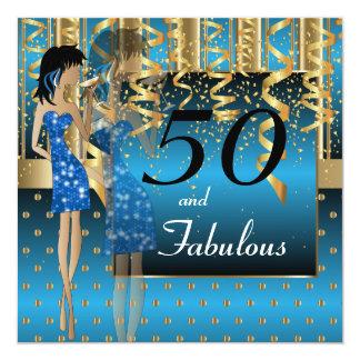 50th Birthday Bash Party 13 Cm X 13 Cm Square Invitation Card