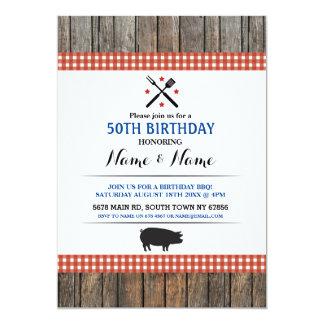 50th Birthday BBQ Any Age Rustic Red Hog Roast Card