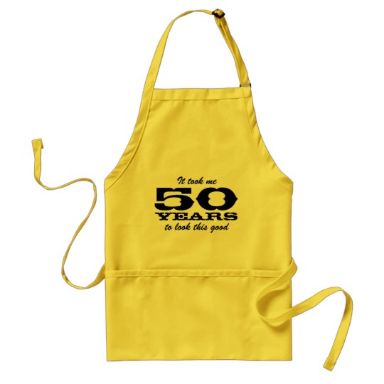 50th Birthday bbq aprons for men | yellow