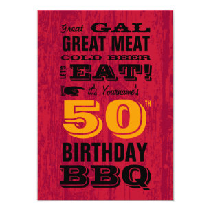 50th Birthday BBQ Grill Out Invitation