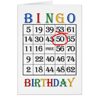 50th Birthday Bingo card