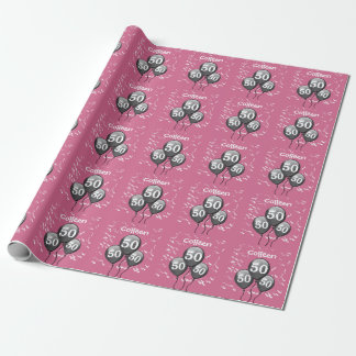 50th Birthday Black Balloons Confetti Pink P22Z Wrapping Paper