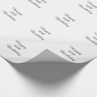 50th Birthday, black & white gift wrap. Wrapping Paper