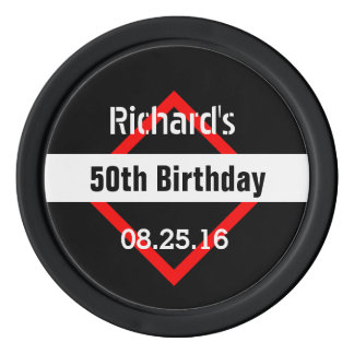 50th Birthday Black with Red Frame Geometric Z50 Poker Chips