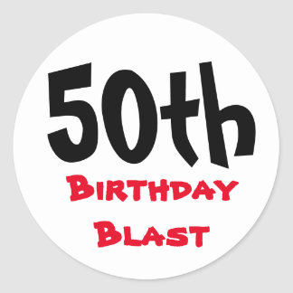 50th Birthday Blast | Typography 50th Birthday Classic Round Sticker