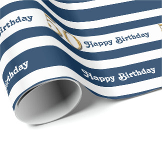 50th birthday blue white gold wrapping paper