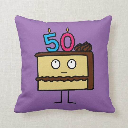 50th Birthday Cake with Candles Cushion
