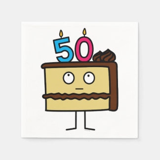 50th Birthday Cake with Candles Paper Napkin