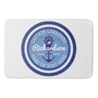 50th Birthday Captain Nautical Rope Anchor Helm Bath Mat