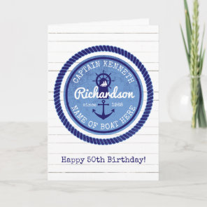50th Birthday Captain Nautical Rope Anchor Helm Card