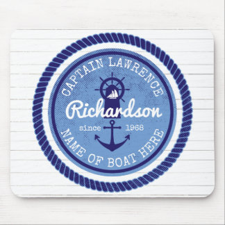 50th Birthday Captain Nautical Rope Anchor Helm Mouse Mat
