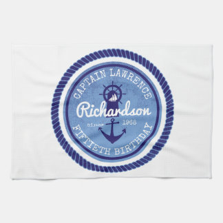50th Birthday Captain Nautical Rope Anchor Helm Tea Towel