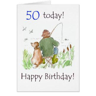 50th Birthday Card - Man Fishing with Dog
