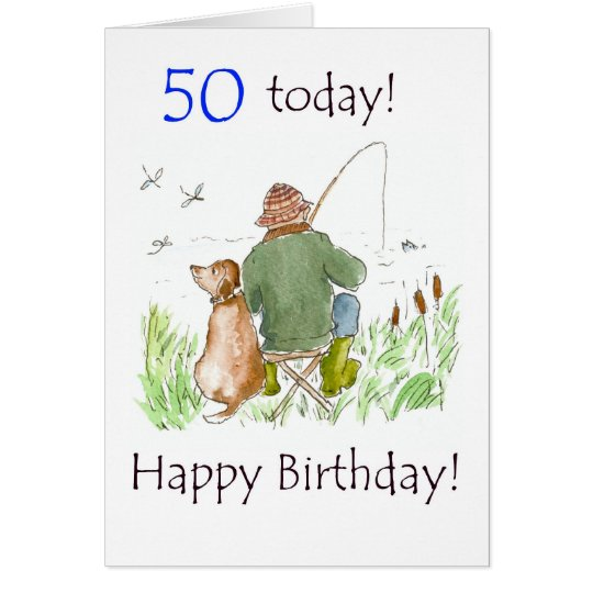50th Birthday Card - Man Fishing with Dog