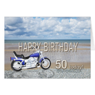 50th birthday card with a motor bike
