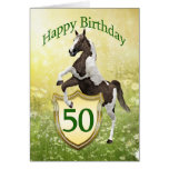 50th birthday card with a rearing horse