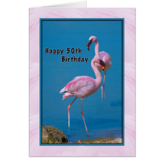 50th Birthday Card with Pink Flamingo
