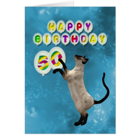 50th Birthday card with siamese cats