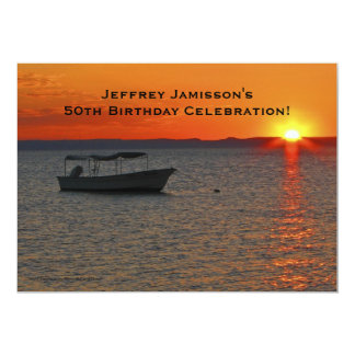 50th Birthday Celebration Invitation, Fishing Boat 13 Cm X 18 Cm Invitation Card
