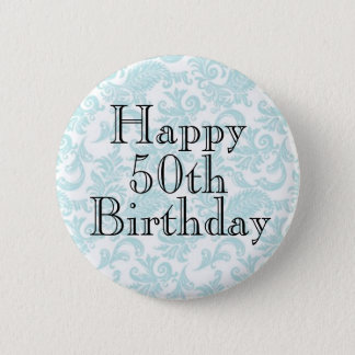 50th Birthday Celebration Sticker Sheet 6 Cm Round Badge