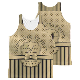 50th Birthday Champagne Gold Polka Dot Stripes Bow All-Over Print Tank Top