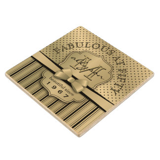 50th Birthday Champagne Gold Polka Dot Stripes Bow Wood Coaster