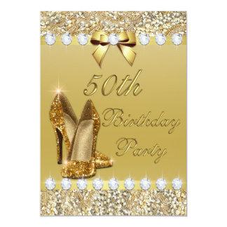 50th Birthday Classy Gold Heels Sequins Diamonds 13 Cm X 18 Cm Invitation Card