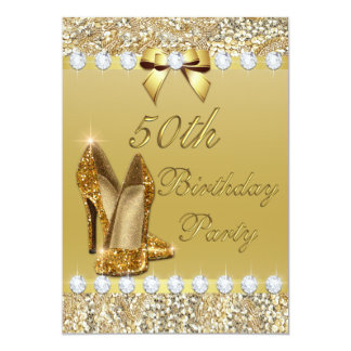 50th Birthday Classy Gold Heels Sequins Diamonds Card