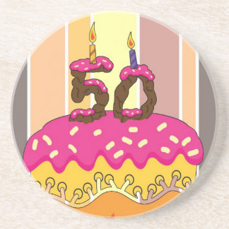 50th Birthday Coaster To Match Greeting Card