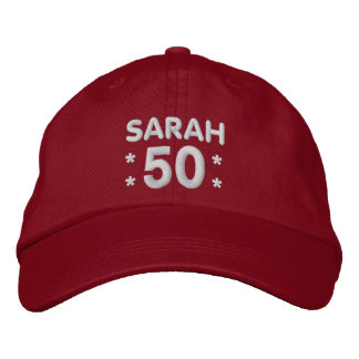 50th Birthday Custom Name RED and WHITE H50F Embroidered Baseball Caps