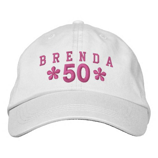 50th Birthday Custom PINK Embroidery H50C Embroidered Hat