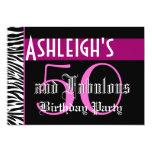 50th Birthday Custom Template - Zebra Pink Black 13 Cm X 18 Cm Invitation Card