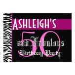 50th Birthday Custom Template - Zebra Pink Black Personalised Invitations