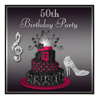 50th Birthday Disco Diva Cake and Heels Hot Pink 13 Cm X 13 Cm Square Invitation Card